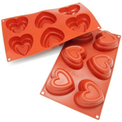 2 Layer Heart Shape 6 Cavity Silicone Mould