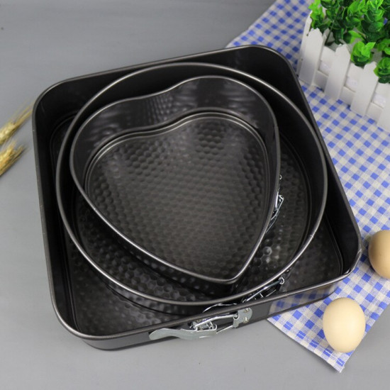 Round/Heart/Square Shape Non Stick Spring Foam Cake Moulds (Set of 3)
