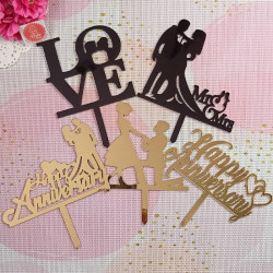 Anniversary and Love Acrylic Cake Toppers Combo 1 (Set of 5)