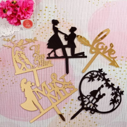 Anniversary and Love Acrylic Cake Toppers Combo 3 (Set of 5)