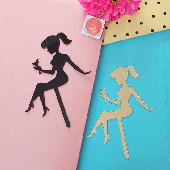 Lady Silhouette Acrylic Cake Toppers (Set of 4)