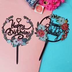 Happy Birthday Black Floral Acrylic Cake Topper (Set of 2)