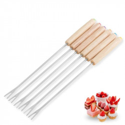 Chocolate Dipping Fork With Wooden Handle 6 Pcs Set