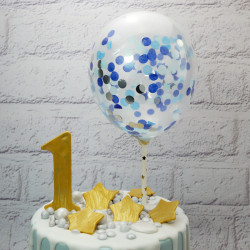 Blue Confetti Balloon Cake Topper (5 Pieces)