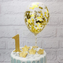 Gold Confetti Balloon Cake Topper (5 Pieces)
