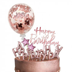 Rose Gold Confetti Balloon Cake Topper (5 Pieces)