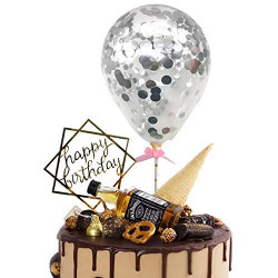 Silver Confetti Balloon Cake Topper (5 Pieces)