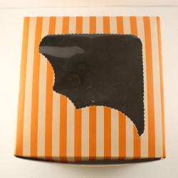 Orange Stripes Cupcake Box 4 Cavity (Pack Of 10)