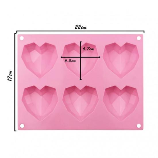Diamond Heart Shape (6 Cavity) Silicone Chocolate Mould