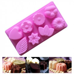 Heart Flower Star Mix Shape 8 Cavity Silicone Mould