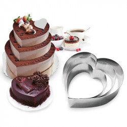 Heart Shape Mousse Cake Ring Mould (Set of 3)