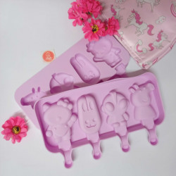 4 Cavity Alien Kitty Peppa Pig Silicone Popsicle Mould