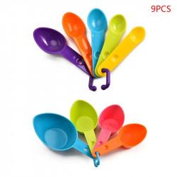 Plastic Measuring Cups & Spoons Multi Colour- Set of 9 Pcs.