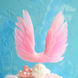 Pink Angel Feather Wings Cake Topper