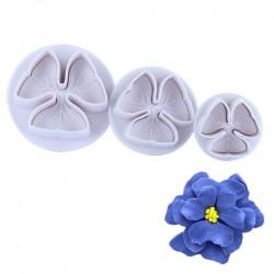 3 Petal Flower Plunger Cutter Set of 3 Pieces
