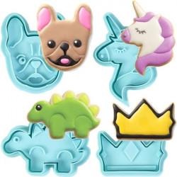Unicorn, Pug, Crown & Dinosaur Plunger Cutter Set