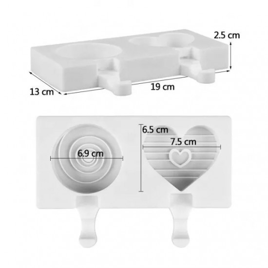 Swirl Round and Heart Popsicle Silicone Mould