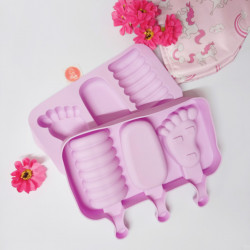 Foot Oval Spiral 3 Cavity Silicone Popsicle Mould