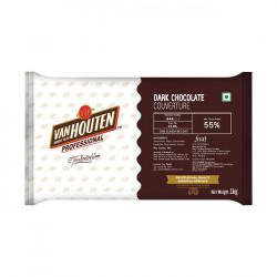 Van Houten Dark Chocolate Couverture (55% Cocoa) - 1 Kg